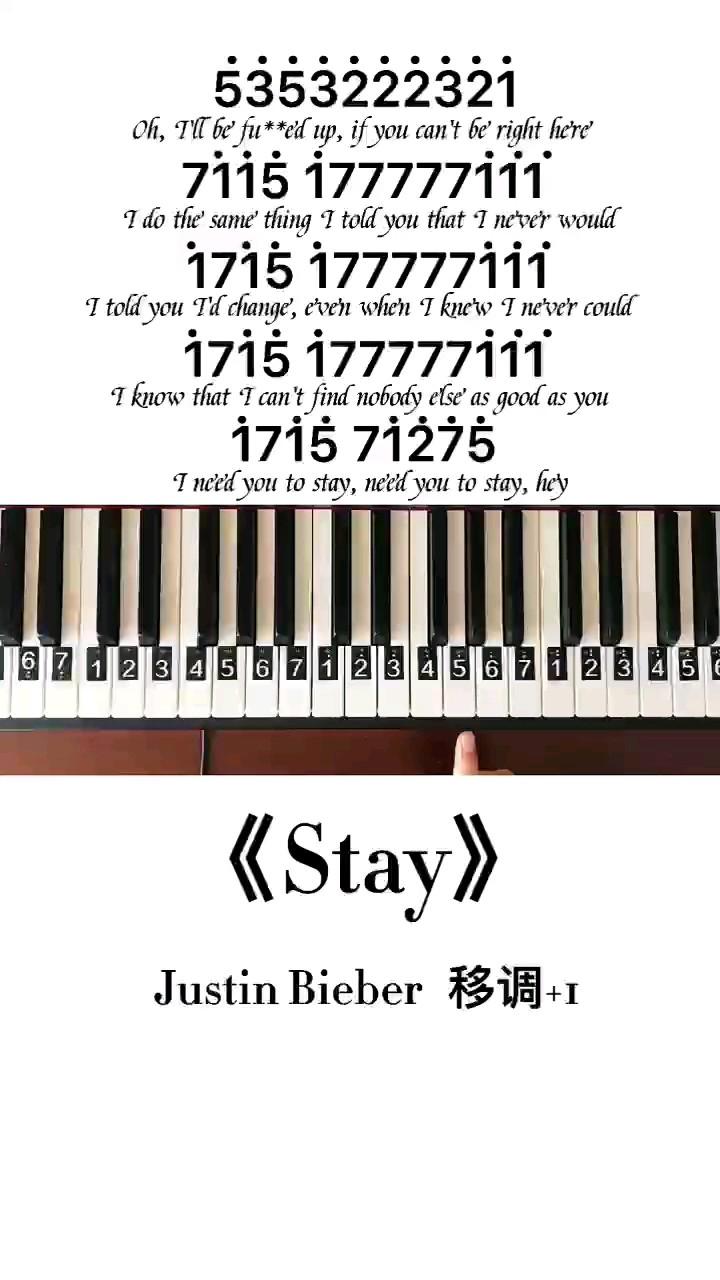 《stay》钢琴简谱教程演奏视频