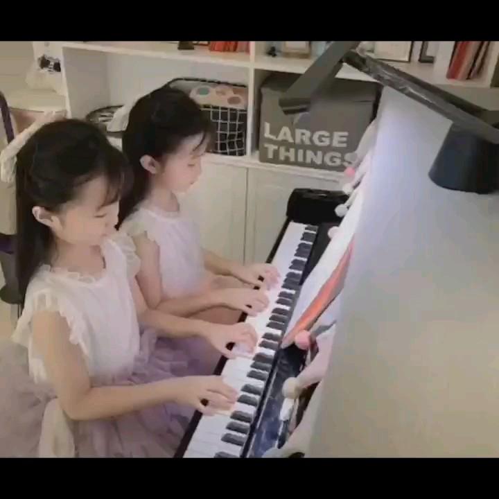 粉刷匠 完整指法 四手联弹 C大调 儿歌演奏视频