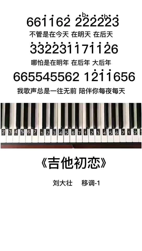 《吉他初恋》钢琴简谱教程演奏视频